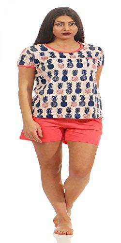 NORMANN WÄSCHEFABRIK Lässiger Damen Pyjama Shorty Kurzarm mit Ananas als Motiv 181 205 90 104, Farbe:rosa, Größe:44/46
