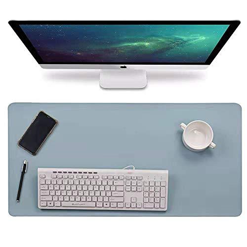 "Multifunctional Office Desk Pad, 31.5"" x 15.7"" Waterproof PU Leather Mouse Pad/Mat, Laptop/Computer Desk Mat, Antiskid Desk Writing Mat for Office/Home (Blue)"