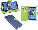 Elegante Forma de Libro Funda para el Sony Xperia E4(e2105) en Azul de Verde Wallet portatil de Style @ Energmix