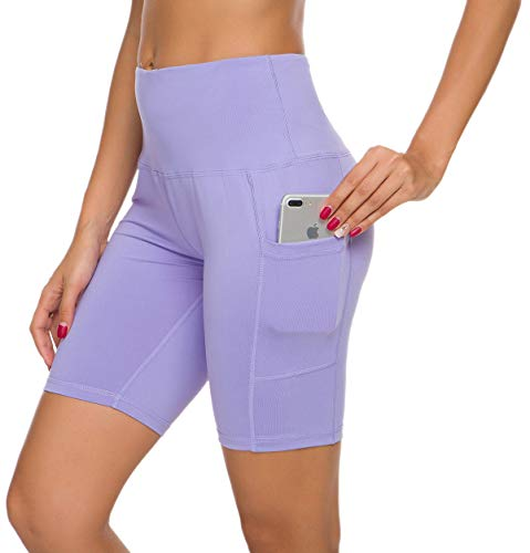Custer's Night High Waist Out Pocket Yoga Short Tummy Control Workout Running 4 Way Stretch Yoga Leggings (Lavender, S)