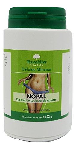 NOPAL PUISSANT + EXTRAIT DE NOPAL - Riche en Fibres - Digestion Difficile - Bloqueur de Graisses - Poids Femme et Homme - 2500 mg/jour - 120 gélules Minceur Puissantes.