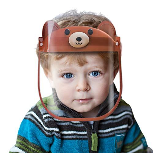 Gesichtsschild für Kinder | Gesichtsschutz Plexiglas für Kinder | Kinder Visier aus Kunststoff | Schutzschild | Mundschutz für Kinder (braun - Bär)