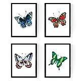 Nacnic Set de 4 láminas para enmarcar, 4 Mariposas Coloridas, tamaño A4. Decoración de hogar. Papel 250 Gramos Decora el salón, o Haz