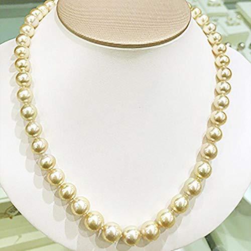 Lnyy Goldene Perlenkette Natürliche Südsee Goldene Perlenkette in der Nähe von Runde Miniatur Gold Perlenkette