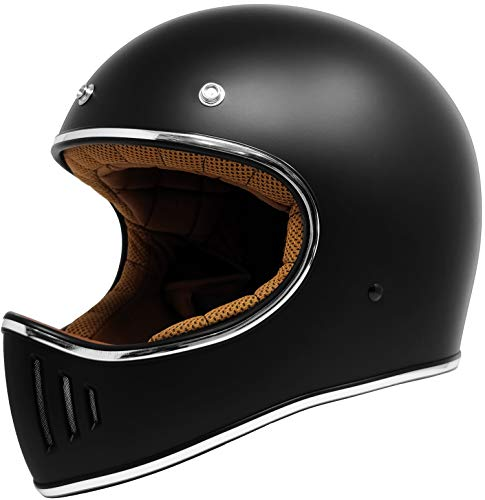 GDM REBEL Vintage Motorcycle Helmet Retro Full Face (Matte Black, Medium)
