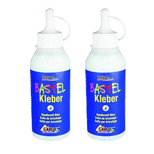 Kreul 49361 - Bastelkleber, auf Wasserbasis, lösungsmittelfrei, für viele verschiedene Materialien, 250 ml, transparent (250 ml, 2)