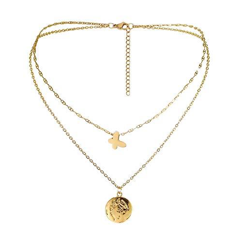 ZHDXW Colgante de oro con forma de mariposa con colgante de cara de mariposa, joyería de regalo de doble clavícula, hermoso colgante de vida