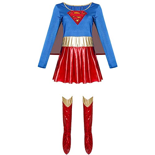 Traje para Mujer de Superman, Disfraces de Halloween Cosplay del Traje de Superman de la PU XXL