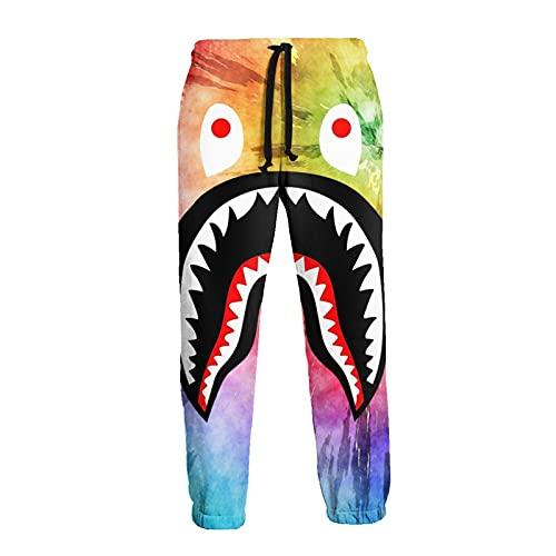 Inaayayi Pantaloni della tuta casual da uomo pantaloni allentati pantaloni atletici pantaloni yoga, 1 Tie Dye arcobaleno acquerello arte squalo, L