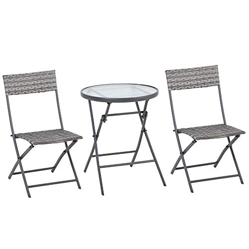 Outsunny 3 Pieces Patio PE Rattan Wicker Bistro Conversation Set Foldable Table and Chair Set for Outdoor Yard Porch Poolside Lawn Balcony Grey