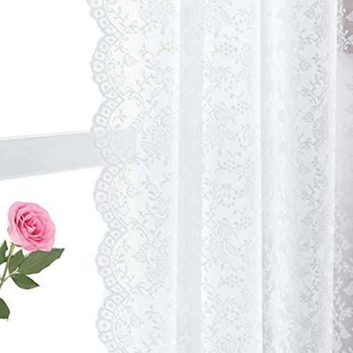 FINECITY White Lace Curtains 72 Inch Long - White Floral Sheer Lace Curtains Set for Living Room/French Door, Airy Country White Lace Window Curtains 2 Panels, 52 x 72 Inch, White
