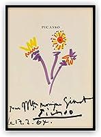 ピカソ 三輪の花 クレヨン画 A4サイズ 額縁付き