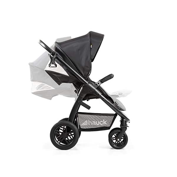 Hauck Hauck Unisex Promenade Chaises Black/Grey Hauck Maximum comfort: backrest and footrest adjustable to the lying position, extra large canopy, height adjustable handlebars, cup holders and foot covers All terrain: the stroller is suitable for both the city and the countryside thanks to the suspension, the high-quality rubber profile and the swivel and lockable front wheels. Swivel: The lightweight sports chair with removable front bar can be rotated towards parents or in moving direction easily in a few seconds. The chair supports a weight of up to 25 kg. 19