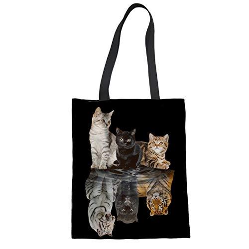 Showudesigns Bolsas reutilizables para gatos, para mujeres, niñas, niños, bolsas de la compra, bolsa de hombro de lona con asa, bolsa de comestibles, bolsos de gatito reflectante tigre