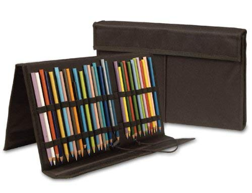 SoHo Urban Artist 72 Slot Pencil Case for Colored Pencil, Markers, Pen, Brushes Durable Nylon Organizer Opens to Easel Stand - Black