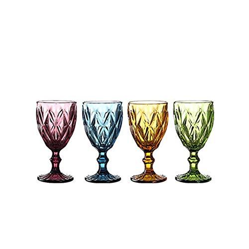 CZX Cubiletas de Cristal en Relieve de Colores, Copas espesas Resistentes al Calor para el hogar Retro, Cuatro Paquetes de Estilo Europeo, Copas de Vino de 300 ml de lavavajillas Seguro