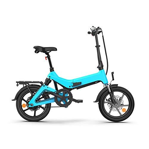 XHJZ Bicicleta eléctrica Plegable, Velocidad máxima 25 kmh, 16 '' Marco de aleación de magnesio, 350W Motor, 36V batería de Litio Recargable, Bicicleta Plegable portátil,B