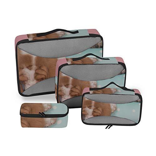 Bolsas de organización de Viajes Basset Blanco Bronceado Lindo en el sofá Cubos de organización de Viajes Cubos de Embalaje de Viaje Organizador de Maleta de 4 Piezas Bolsa de Almacenamiento de Equip