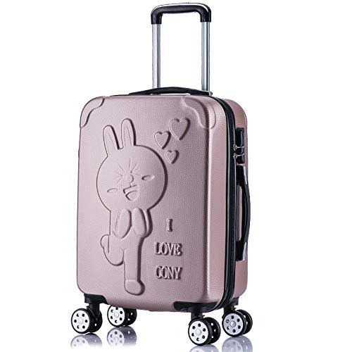 Cartoon Cute Suitcase 24 inches Connie Rabbit Rose Gold