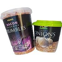 Tocino Bits Crumbles & Cebolla crujiente Toppings ideal para ensaladas, platos de pasta, patatas o para cocinar.