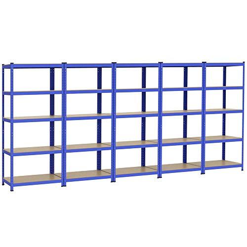 Yaheetech 5x Schwerlastregal 180 x 90 x 45 cm Steckregal Kellerregal Metall Regal Regalsystem Traglast bis 265 kg pro Fachboden