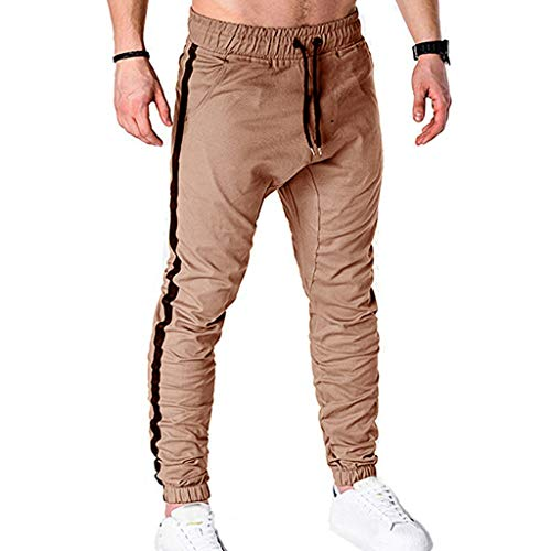 Mens Sweatpants, F_Gotal Men's Casual Striped Print Elastic Waist Sports Running Jogger Pants Trouser with Pockets Khaki