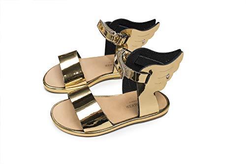 Baby Leder Sandalen Flügel Hermes Gold Lederschuhe für Mädchen, handgefertigt (Gold, Numeric_22)