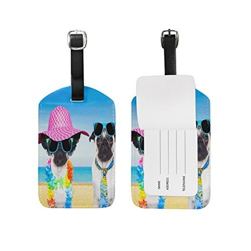 Domoko Sunny Pug Dog Beach Luggage Tags Travel ID Bag Tag for Suitcase 1 Piece