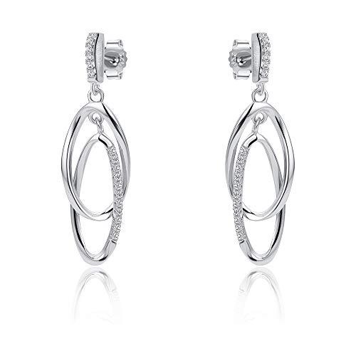Jewelco London Rhodium Plated Sterling Silver White Cubic Zirconia Interlocked Oval link Drop Earrings