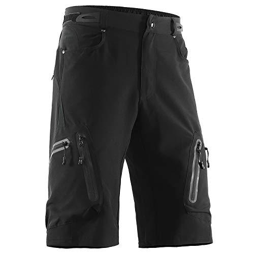 ARSUXEO Pantalones Cortos para Hombre, Pantalones Cortos Ciclismo para MTB, Pantalones Cortos Hombre Verano Secado Rápido (Negro, XXL)