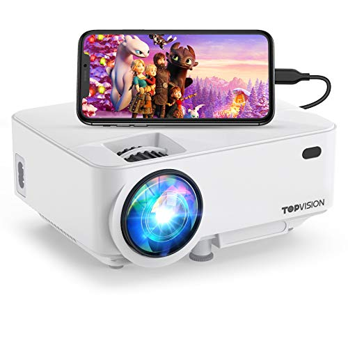 "Mini Projector ,TOPVISION Projector 4500 Lumens HD 1080P 180"" Display Supported,60,000 hrs with Screen Mirroring Portable Projector,Compatible With Fire,Stick,HDMI,VGA,USB,TV,Laptop,DVD"