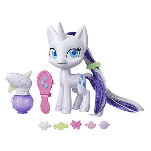 My Little Pony Rarity mit magischer Mähne – 16,5 cm große Hair-Styling Ponyfigur mit wachsenden Haaren, die die Farbe wechseln, 10 Überraschungs-Accessoires