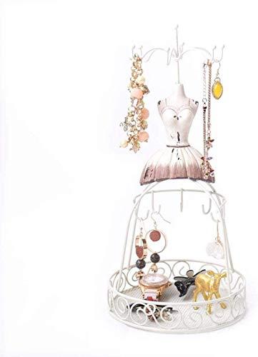 Maniqui Costura Cuerpo de maniquí Exhibición de la joyería Marco de Alambre de Metal Blanco Soporte de maniquí Vintage para Pulseras Collares Pendientes Desfile de Moda QAF210625