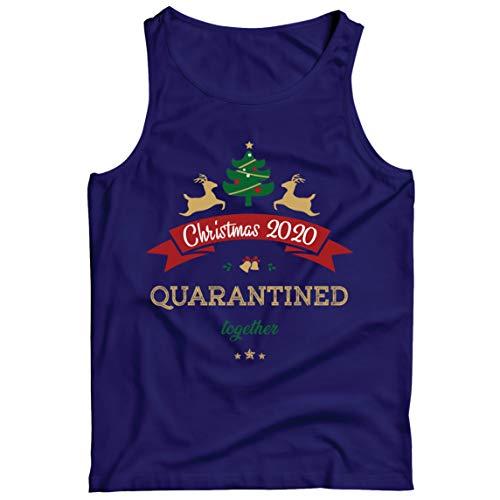 lepni.me Camisetas de Tirantes para Hombre Navidad 2020 en Cuarentena Quntos Año del Desgaste del Encierro (Medium Azul Multicolor)