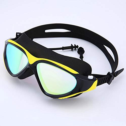 Viner Professionele zwembril Volwassen waterdicht UV-bescherming Anti-mist Verstelbare duikbril Zwembril, zwart geel, One size