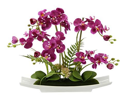 Flair Flower Kunstblume Schmetterling Orchidee in Schale aus Keramik Künstliche Blume Kunstorchidee Phalaenopsis mit Übertopf Kunstpflanze Hochzeit Deko, rosa, 50x55x14 cm