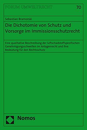 Die Dichotomie von Schutz und Vorsorge im Immissionsschutzrecht: Eine qualitative Beschreibung der luftschadstoffspezifischen Genehmigungsschwellen im ... für den Rechtsschutz (Forum Umweltrecht 70)