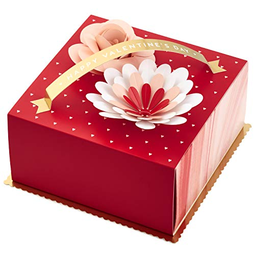 Hallmark Paper Wonder 6' Medium Valentines Gift Box (3D Flowers, Red and Gold) for Wife, Girlfriend, Fiancée