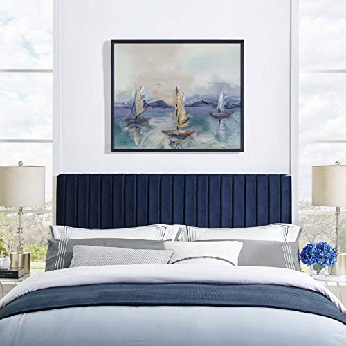 Modway Keira Channel Tufted Performance Velvet Upholstered Full Queen Headboard in Midnight product image