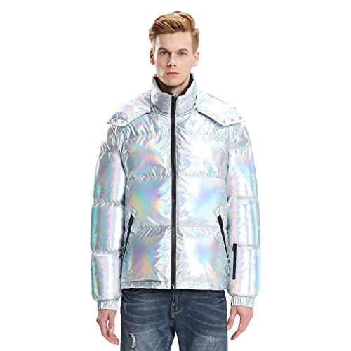 Extreme Pop Herren Winter Warme Gänsedaunen Hoody Jacken Laser Silbermantel UK Brand (Laser Silber, XL)