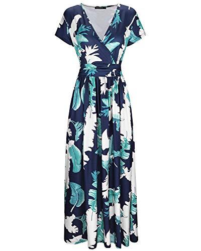 OUGES - Vestido largo con bolsillo para mujer, manga corta, cuello en V, estampado de flores Pluma. XL