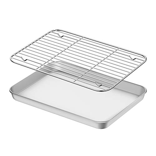 Baking Sheet with Rack Set, Umite Chef Stainless Steel 12 Inch Cookie Sheet Baking Pans with Cooling Rack, Cookie Pan with Rack Non Toxic & Healthy, Easy Clean & Heavy Duty, Dishwasher Safe