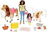Barbie Familia, Juego de amistades de los Animales, muñeca marrón y minimuñecas Chelsea, Caballo Pony, Figura de Cachorro y Accesorios, Juguete para niños, FXH16