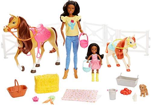 Barbie Familia, Juego de amistades de los Animales, muñeca marrón y minimuñecas...