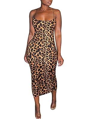 Rela Bota Women's Sexy Spaghetti Strap Sleevless Bodycon Midi Club Cocktail Dress Leopard Print M