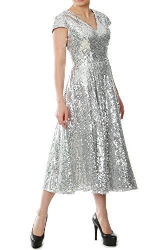MACloth Women Midi Mother of Bride Dresses Sequin Cap Sleeves Wedding Party (38, Silver)