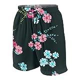 Pantalones de Playa para Adolescentes,Patrón Florido Brillante en Escala S Flores Silvestres de Caramelo Liberty Millefleurs Floral y Decoupage,Ropa de Playa Trajes de baño Shorts de Playa S