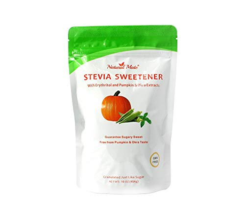Natural Mate Stevia and Erythritol Sweetener Blend with Veggie Nutrients from Pumpkin and Okra (16oz / 1Lb, 5Pack) - All Purpose Granular Natural Sugar Replacement - Pure Sweet Taste, Zero Calories