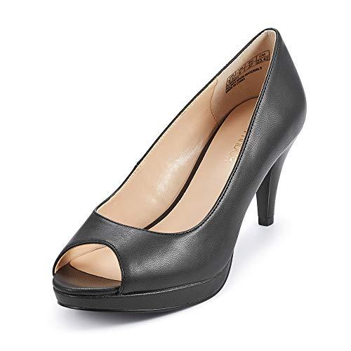 JENN ARDOR Women's Ladies Classic Mid Heel Round Peep Toe Pumps Dress Party Slip On Sandals Platform Comfort Heels Black