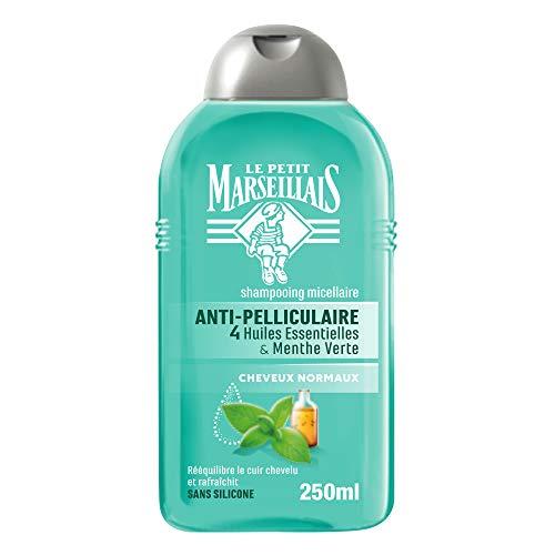 Le Petit Marseillais Shampoing Antipelliculaire, aux 4 Huiles Essentielles et Menthe Vert, Pour Cheveux Normaux, 250ml